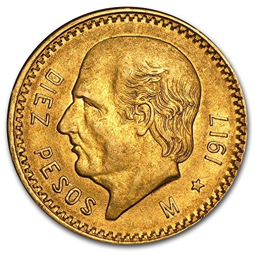1917 MX Mexico Gold 10 Pesos AU Gold About Uncirculated