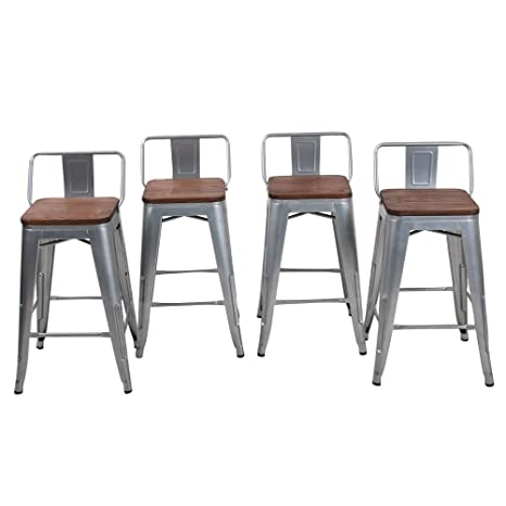 Magnificent Haobo Home 24 Low Back Metal Counter Stool Height Bar Stools With Wooden Seat Set Of 4 Barstools Silver Pabps2019 Chair Design Images Pabps2019Com