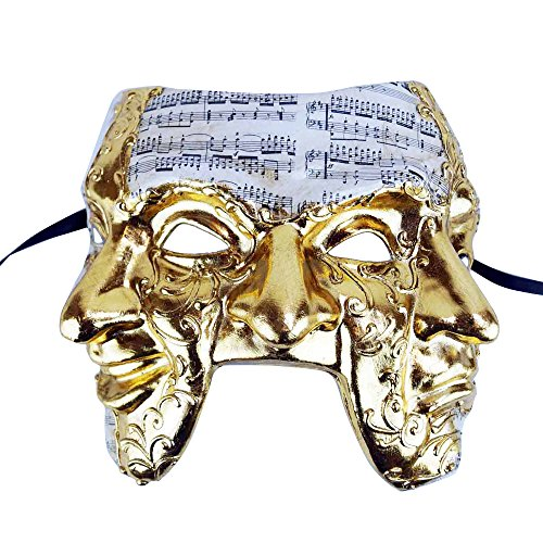 Male Triple Face Mask (Paper Mache Venetian Mardi Gras Mask, One Size, Gold)