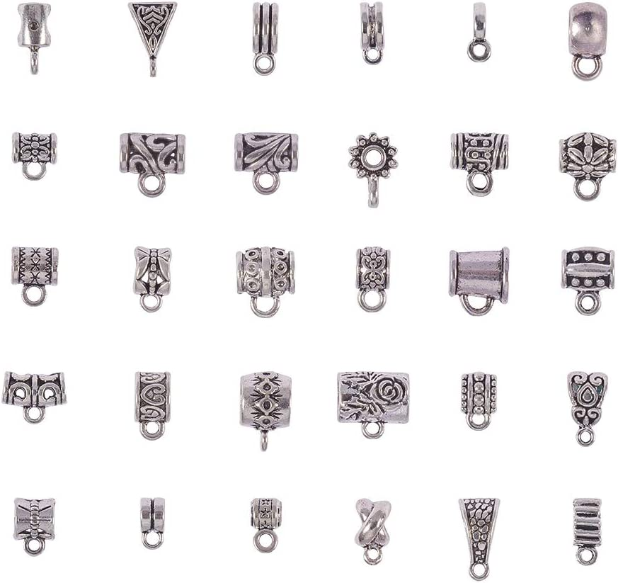 Jewelry Making Tube 120Pcs Spacer beads Pendant  Tibetan Silver DIY Connectors