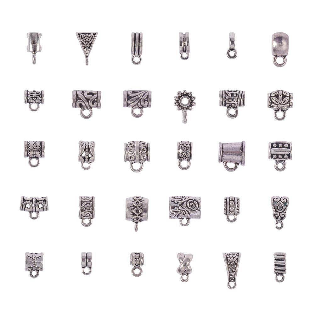 PH PandaHall 1 Box About 58pcs 12 Styles Antique Silver Tibetan Style Alloy European Beads Connectors Bails Beads and Charms for DIY Necklace Pendants Making