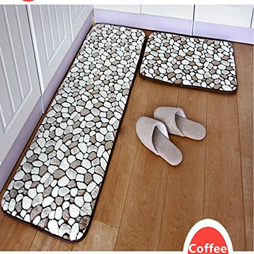 Ustide 2-Piece Coffee Cobblestone Rug Coffee Bathroom Rug Set Soft Memory Foam Kitchen/Balcony Mats Non-Slip Floor Runner Rugs Set
