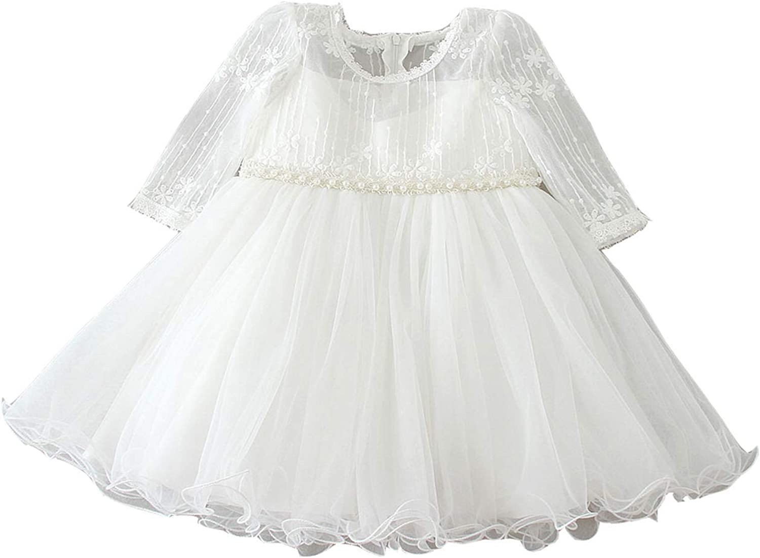 Selene Long Sleeves Ivory Embroidery Lace Christening Gown Baby Girls Kids Formal Wedding Birthday Party Bridesmaid Dress Baby Baptism Gown