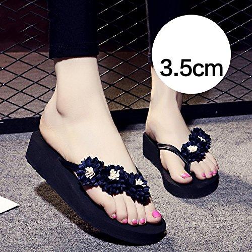 5cm Scarpe Pantofole azzurro Le Dark Donne Haizhen marrone Femminili Antisdrucciolo 3 Donna Estive Da Per rosa Blue Scuro blu wwaA45rqRn