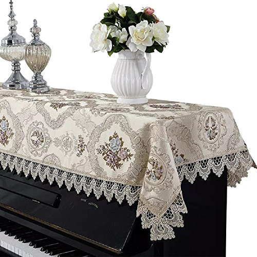 Minimal Life Piano Cover Upright Dusting Best Velvet Lace Cloth Piano Towel (Champagne Color)