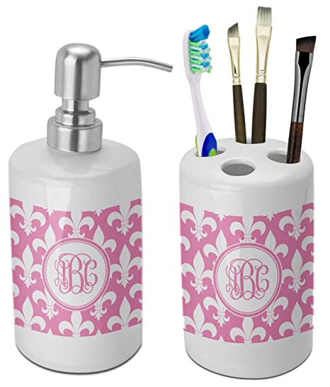 Amazoncom Rnk Shops Fleur De Lis Bathroom Accessories Set Ceramic