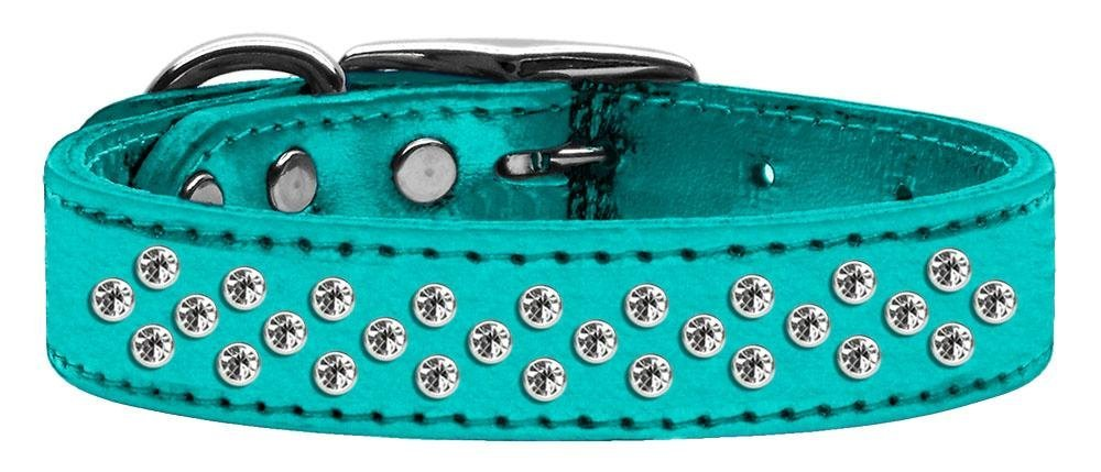 16\ Mirage Pet Products Sprinkles Clear Crystal Metallic Leather Turquoise Dog Collar, 16