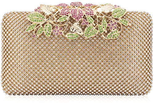Womens Evening Bag with Flower Closure Rhinestone Crystal Clutch Purse for Wedding Party Multicolor