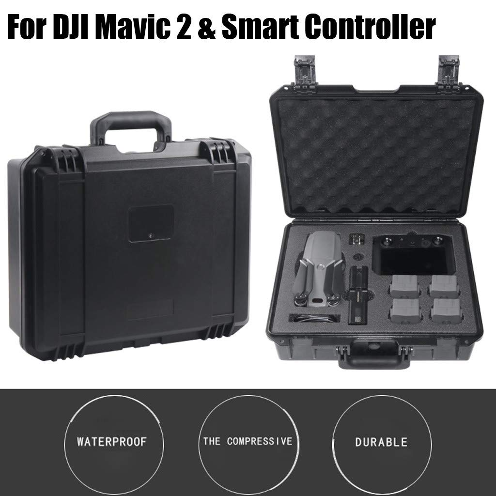 Fullwei Waterproof Storage Case Military Spec Hardshell Carrying Case Travel Organizer Compatible with DJI Mavic 2 Pro/Zoom & Smart Controller (Black)