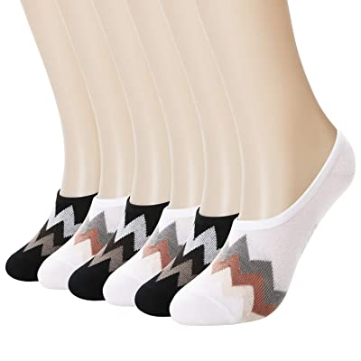 +MD 6 Pack No Show Liner Socks for Women Odor Control Bamboo Invisible Socks with Non Slip for Flats, Loafer, Boat Shoes at Women's Clothing store