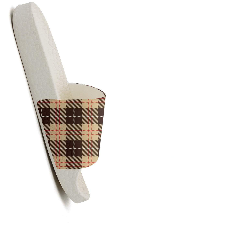 MIJIIE Womens Slides Shoes Athletic Checkerboard Brown Lattice British Plaid Sandals Super Soft Shower Slip On