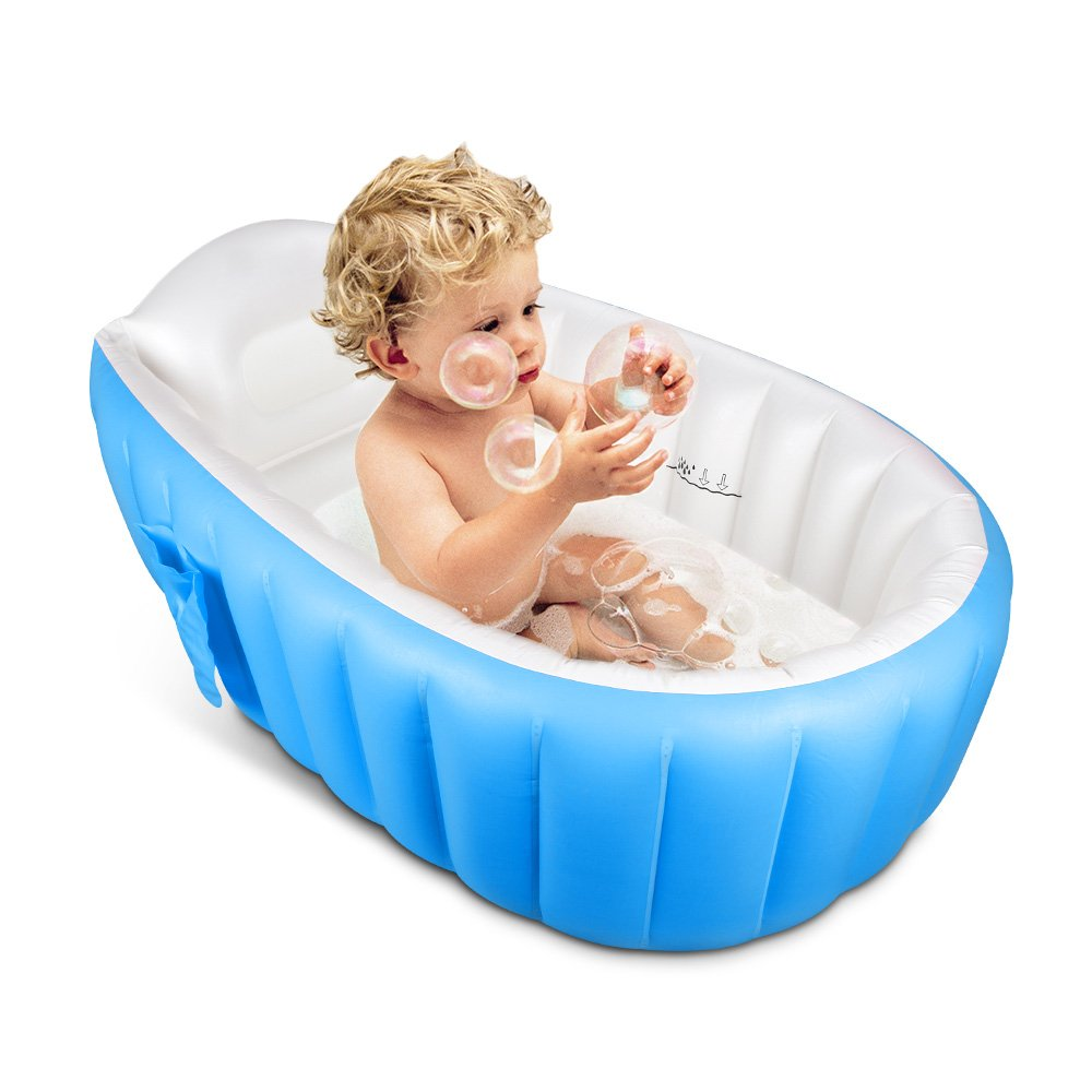 Inflatable Baby Bathtub,Topist Portable Mini Air Swimming Pool Kid Infant Toddler Thick Foldable Shower Basin with Soft Cushion Central Seat (Blue)