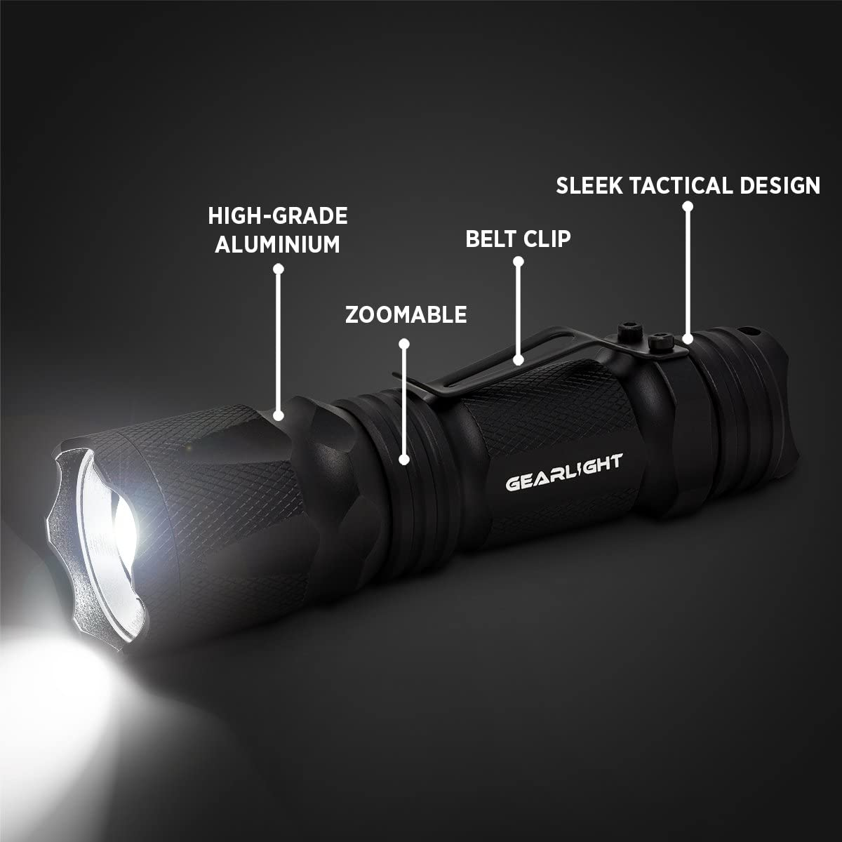 GearLight M3 LED Tactical Flashlight [2 PACK] with Belt Clip, Batteries Included - Zoomable, 3 Modes, Water Resistant, Small Mini Light - Best Everyday Carry Flashlights: Sports & Outdoors