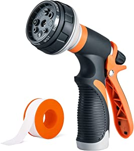 Garden Hose Nozzle Hose sprayer - High Pressure Water Hose Nozzle for Plants, Cars, Dogs, Lawn and Garden - 8 Adjustable Spray Patterns - Trigger Lock Function - Garden Spray Nozzle for Hose