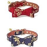 猫 首輪 くびわ Imikoko ペット首輪 犬 首輪 調節可能 ベル付き 取り外し可能 和風 おしゃれ かわいい 安全 ネコ・小型犬 ペット用品(2個入り PU+木綿の布 花柄A+花柄B)