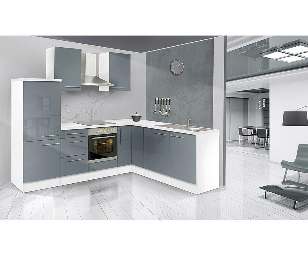 respekta Küchenleerblock Premium L-Küche 260 x 200 cm Korpus Weiß Fronten Grau Hochglanz