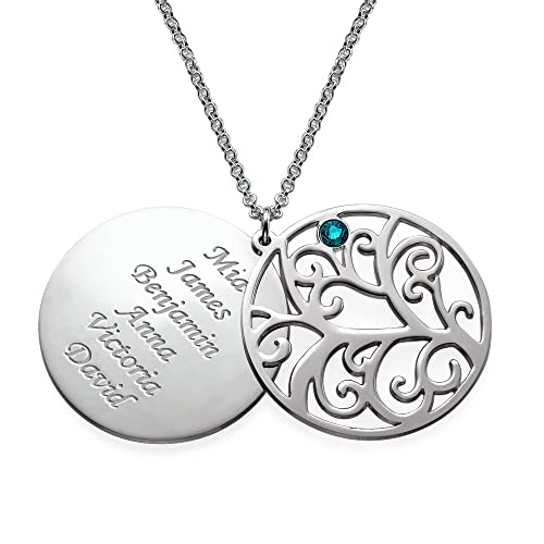 Sterling silver filigree family tree birthstone pendant necklace sterling silver filigree family tree birthstone pendant necklace custom made with any name aloadofball Gallery