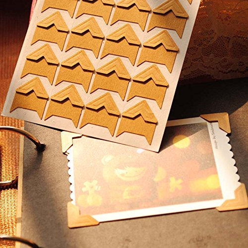 (1 Lot=480 Pcs Corner Stickers) DIY Scrapbooking Kraft Paper Wedding Photo Albums Frame Decoration Corner Stickers