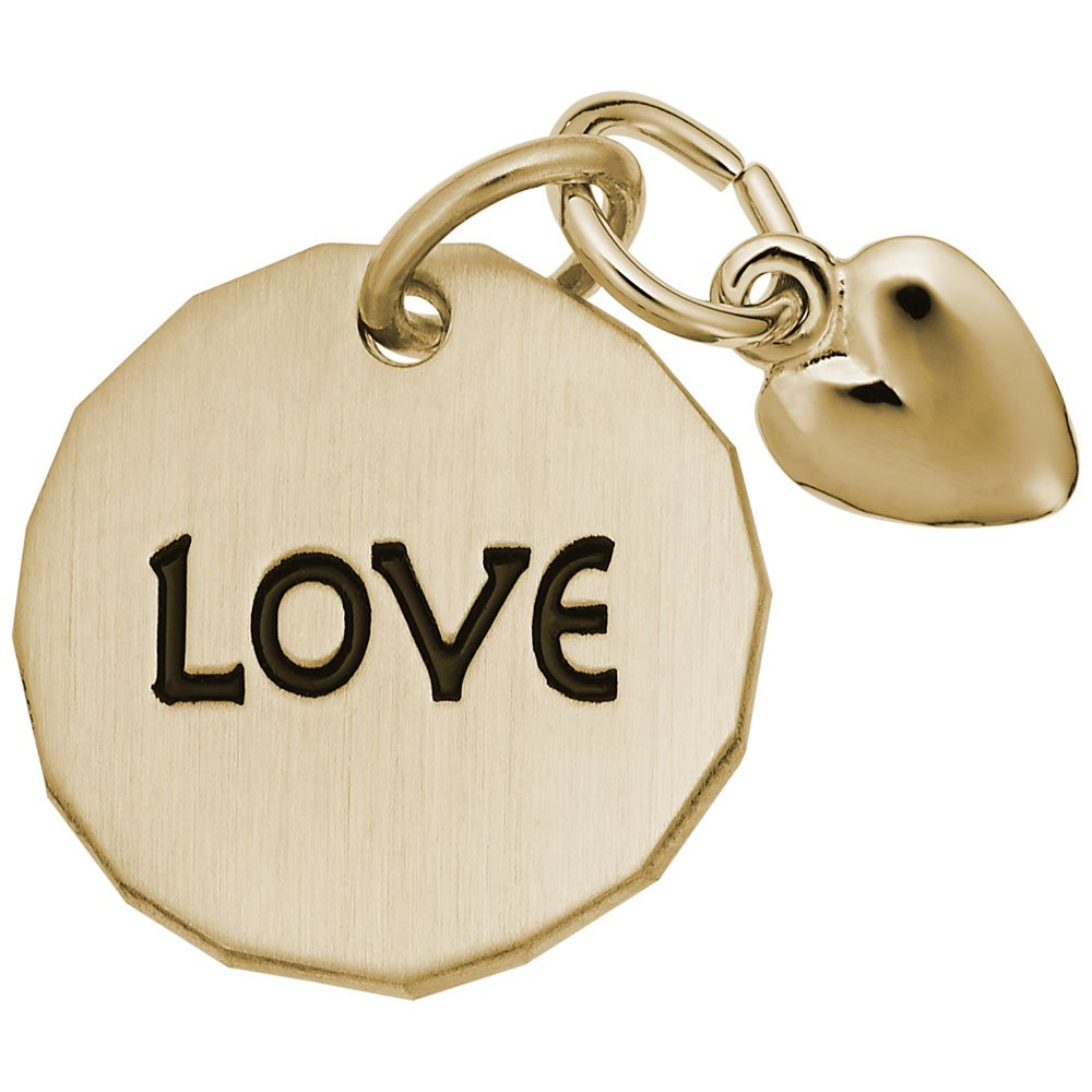 Love Tag With Heart Charm Charms for Bracelets and Necklaces