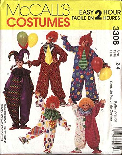 OOP McCall's Costume Pattern 3306. Adult; Mens; Misses Szs M, (34-36) Clown & Jester Costumes