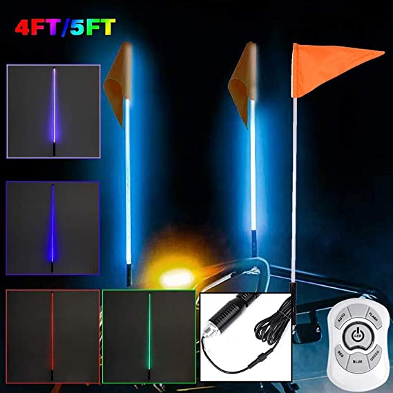 4ft 5ft Beleuchtete Antenne Rgb Led Peitschenlicht Flagge Für Sand Buggy Utv Atv Lkw Für Jeep Für Sand Rails 4ft Auto