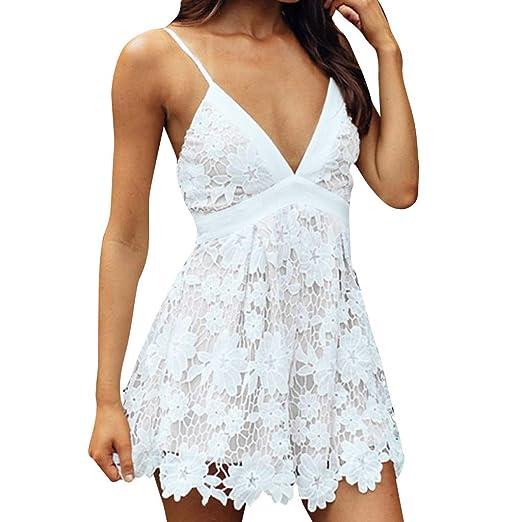 88eb82775e7 Dimanul Women Boho Back Lace Mini Dress Sleeveless Evening Party Summer  Beach Sundress at Amazon Women s Clothing store