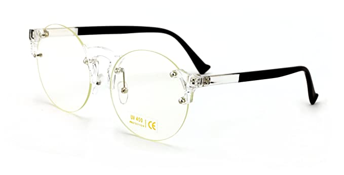 7ef5f8548dfa0 V.W.E. Large Round Rimless Transparent Clear Lens Fashion Glasses (Black