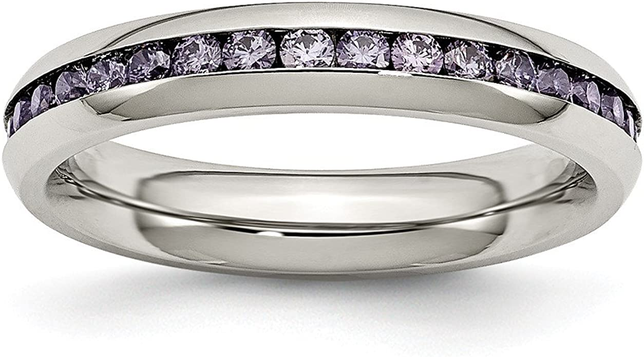 Saris and Things Stainless Steel 4mm February Purple CZ Ring 6 to 9 Size