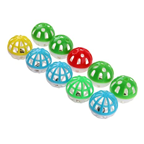 Everpert - Juego de pelotas de plástico huecas redondas para mascotas y gatos con cascabel pequeño