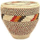 Fair Trade Nubian African Canister Lidded Basket 14-15 Across, 47804
