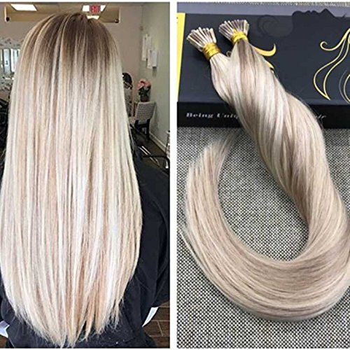 "Ugeat 18"" 50g/set 1g/s I Tip Hair Extensions Straight Piano Color 18/613 Highlights Ash Blonde to Bleached Blonde Full Head Skin Weft Extensions 100% Human Hair Extensions"