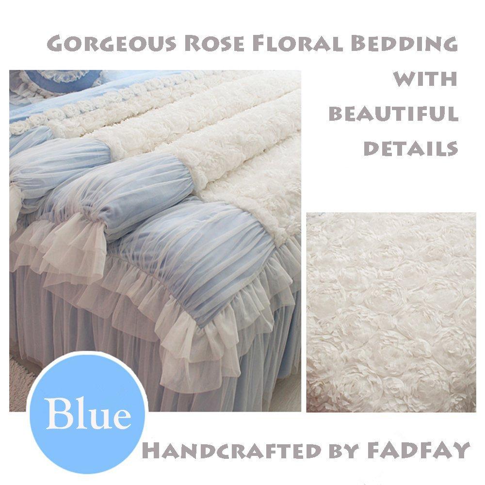 FADFAY White Lace Bedding Sets,Beautiful Korean Rose Bedding,Luxury White Lace Ruffle Bedding, Princess Comforter Cover,Romantic Princess Love Wedding Bedding,Girls Fairy Duvet Cover Set 7 Pcs