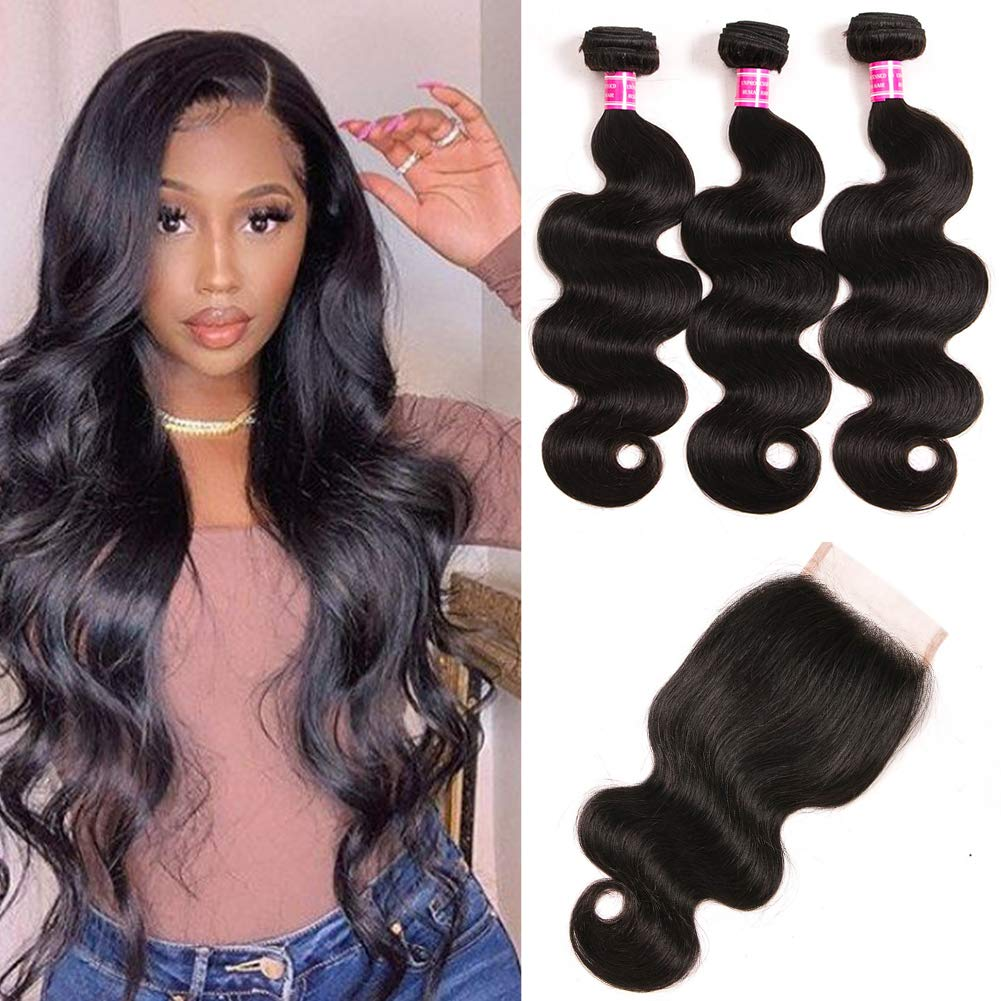 Mureen Hair Brazilian Body Wave Human Hair Bundles with Closure (12 14 16 +10, Free Part) 9A Unprocessed Human hair Body Wave 3 Bundles with 4x4 Lace Closure Natural Black Color