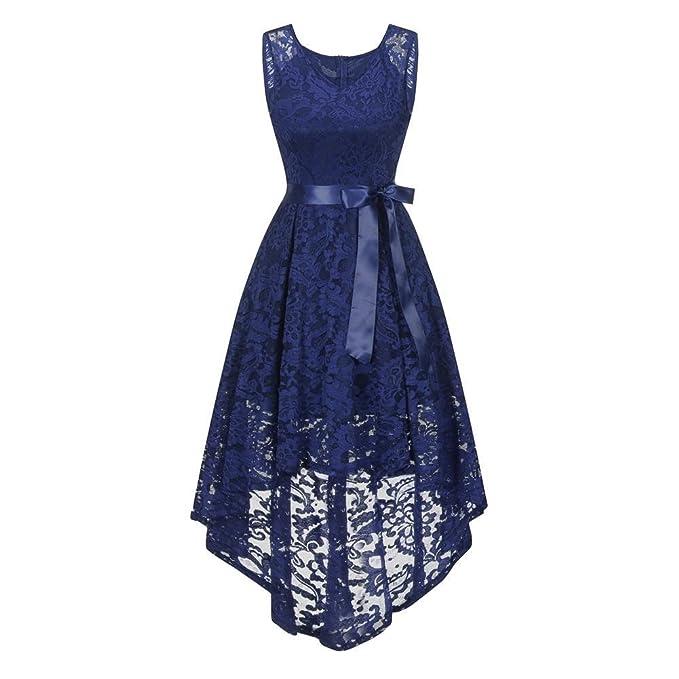 iBaste Elegante Mujer Moda Vintage Vestidos de Encaje Cuello-V Vestido de Cóctel para la