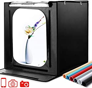 SAMTIAN Photo Box, 24x24x24 Inches Professional Light Box 126 LED Light Shooting Tent TableTopPhotographyLightingKit with 6 Background Papers