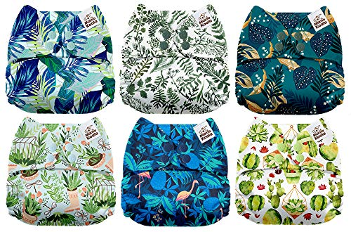 Mama Koala One Size Baby Washable Reusable Pocket Cloth Diapers 6 Pack with 6 One Size Microfiber Inserts Scented Foliage