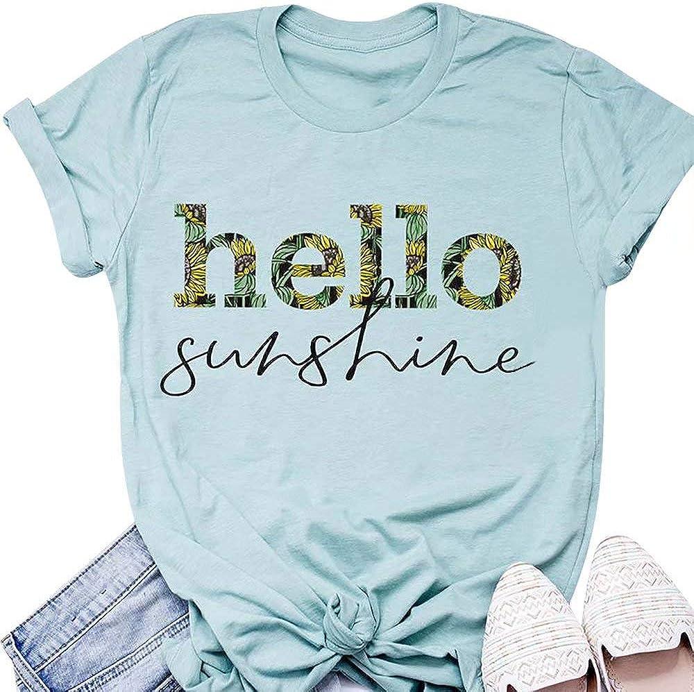 Sunshine Camisas para Mujer Letras de Sol Cute Piña Estampado Manga Corta Casual Vacaciones Camiseta Tops - - Large: Amazon.es: Ropa y accesorios