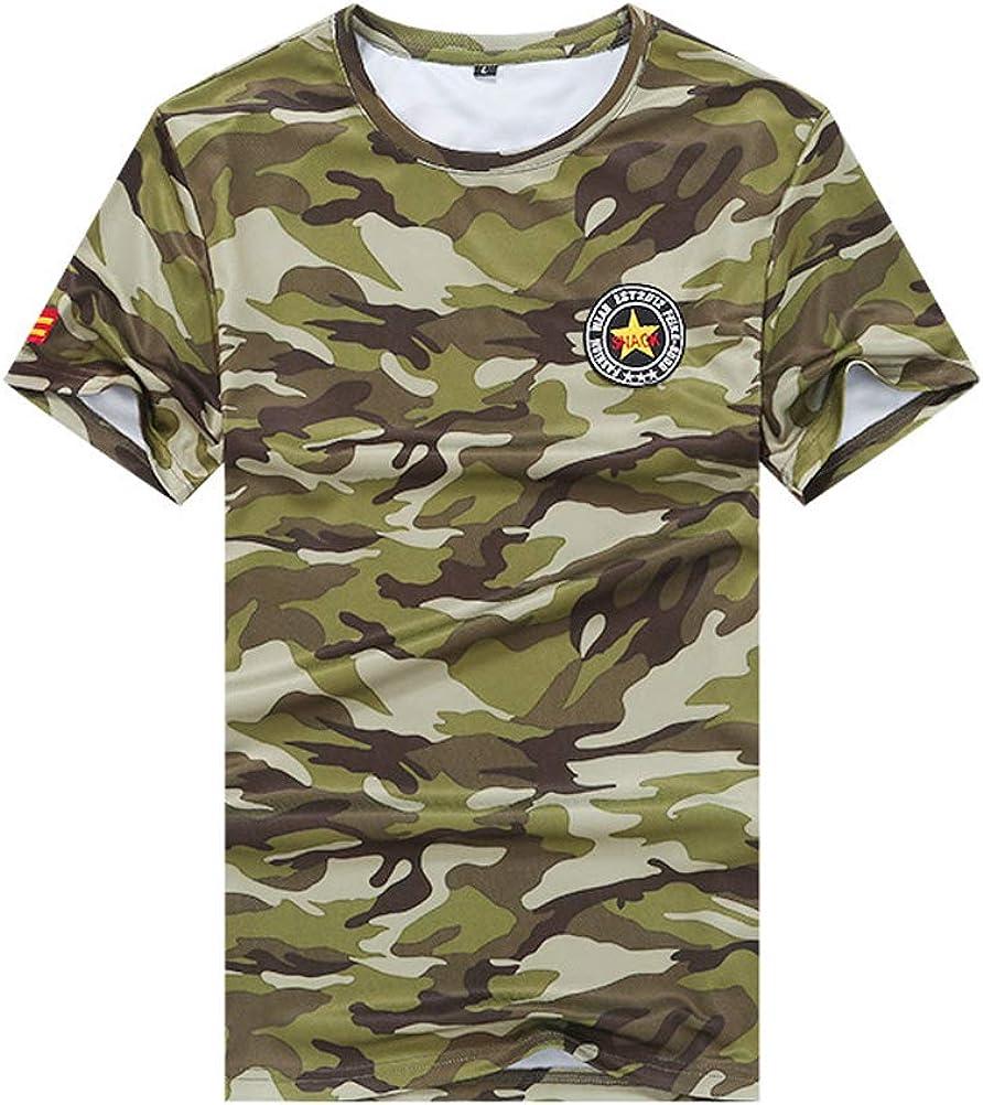 ROBO Camiseta Camuflaje Grande Manga Corta Suelta Transpirable Cómoda Camisa Uniforme Caza Patchwork Top Deportivo: Amazon.es: Ropa y accesorios