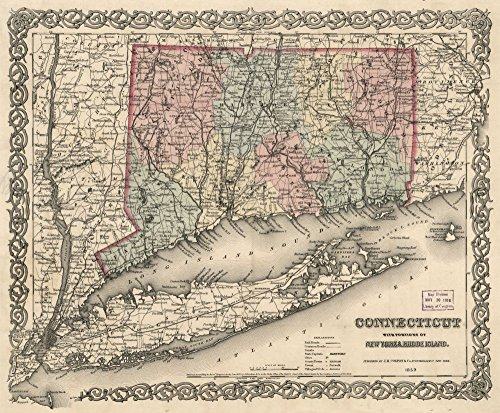 Map: 1859 Connecticut with portions of New York & Rhode Island|Connecticut|Hudson River Valley|Hudson River Valley NY And NJ|Long Island|Long Island NY|New Jersey|New York|Rhode Island|