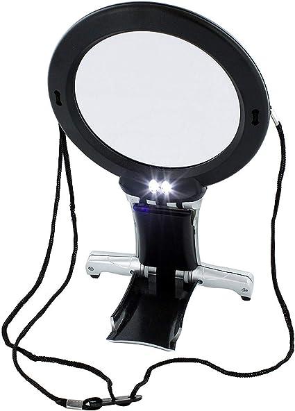 LED Licht Beleuchtete Lupe Lesehilfen /& Vergr/ö/ßerung Leselupen Hals und Schreibtischlupe ARSUK Vergr/ö/ßerungsglas