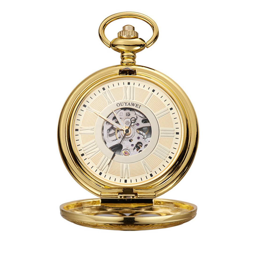 Funique Unisex Roman Numerals Classic Mechanical Pocket Watch with Perspective Bottom Cover(Gold color 1)