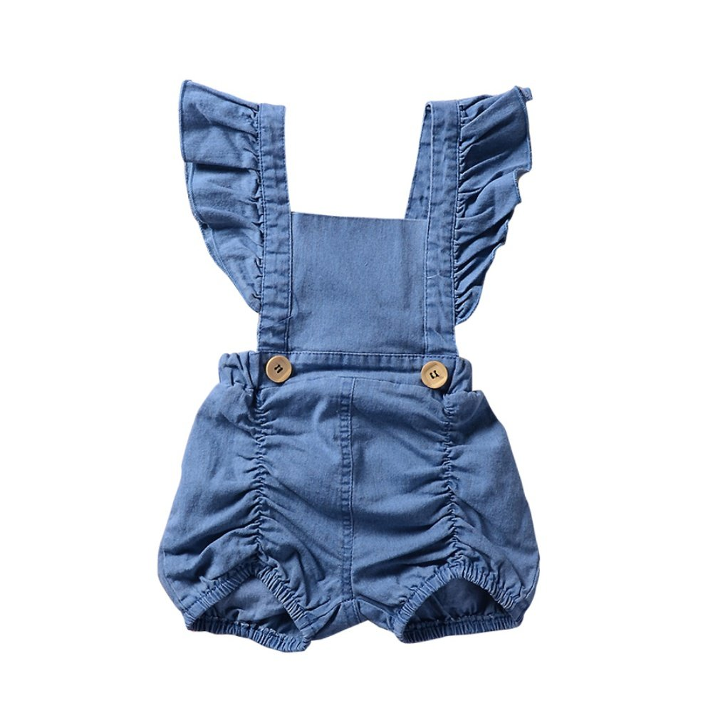 Brightup Säugling Baby Mädchen Denim Rüschen Strampler Overall Sunsuit Outfits Jeans Shorts Kleidung, Baby Mädchen 0-24 Monate Dungarees