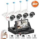 Wireless CCTV Security Systems, SWINWAY Wireless Security Camera Systems with 7 Inch Monitor Wifi NVR Kit 4 Channel 960P Indoor Outdoor Camera No Hard Drive,Easy Remoet Access,App,Plug and Play