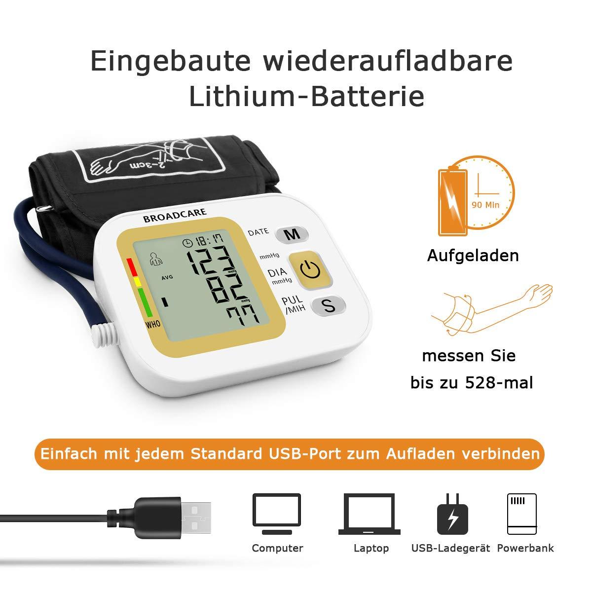 Digital brazo Tensiómetro, broadcare brazo Tensiómetro - Tensiómetro electrónico para medición de la presión arterial y pulso de arritmia de detección ...