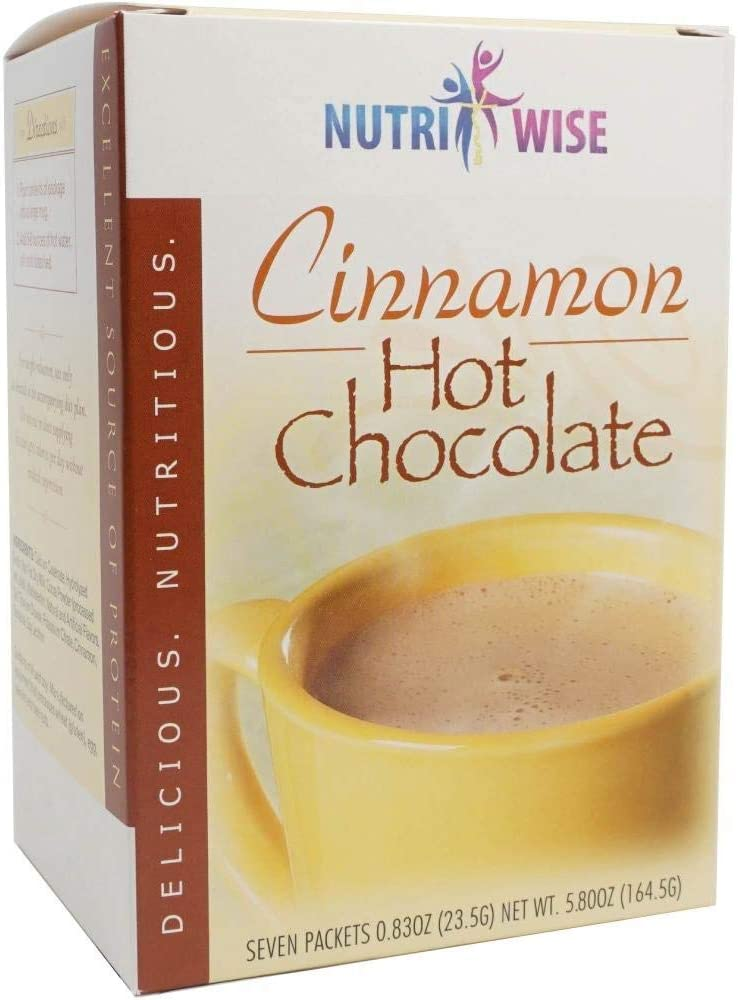 NutriWise - Cinnamon Hot Chocolate | Healthy Diet Drink | High Protein, Low Carb, Low Sugar, Fat Free (7/Box)