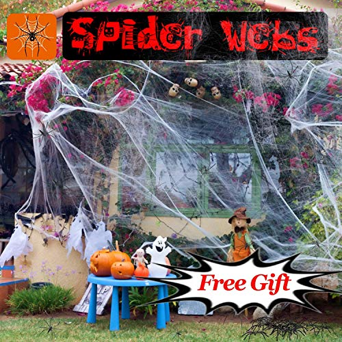 Halloween Decorations Clearance Super Stretch Spider Web with 20 Scary Fake Spiders Props for Indoor Haunted Spooky Party Supplies Favors Large Spider Cobwebs for Window Yard Door