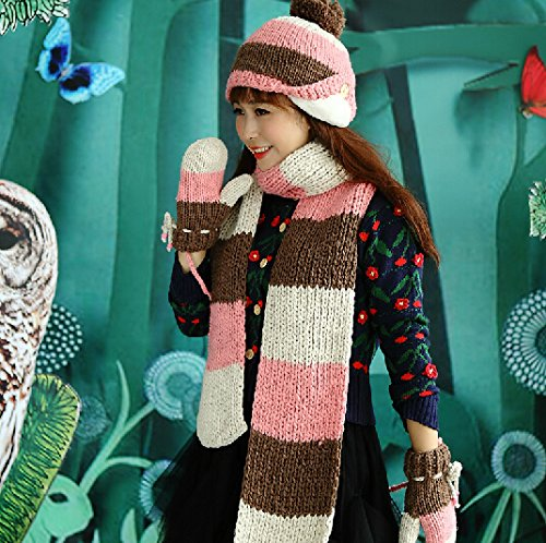 Three-piece fitted one New winter and autumn knitted Hat&Scarf Set Hat, Scarf, and Mittens Golves,mixed color,pink,Christmas Birthdays present Line Walker