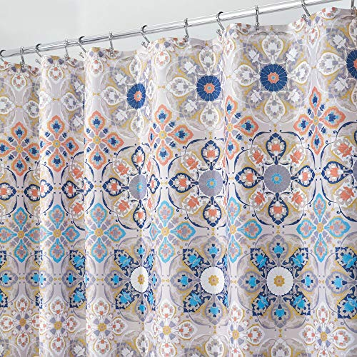 (mDesign Decorative Medallion Print, Easy Care Fabric Shower Curtain with Reinforced Buttonholes, for Bathroom Showers, Stalls and Bathtubs, Machine Washable - 72