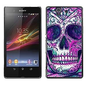 "For Sony Xperia Z Case , Cráneo Esqueleto tinta púrpura del tatuaje"" - Diseño Patrón Teléfono Caso Cubierta Case Bumper Duro Protección Case Cover Funda"