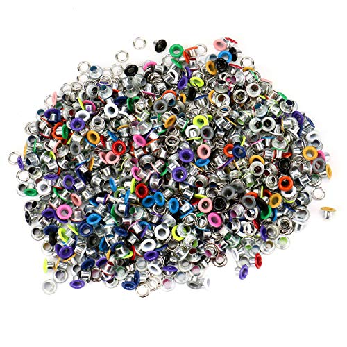 Card Eyelets Scrapbooking (JETEHO 500Pcs Metal Eyelets, Mixed Colors 3mm Round Shape Eyelet Grommets for Scrapbooking Card Making Leather Craft Shoes Clothes)